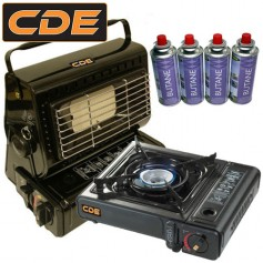 Pack CDE Gas Heater & Portable Stove + Gas (x4)