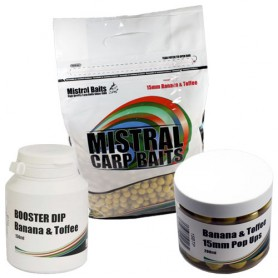 Pack Appâts Mistral Baits Banana & Toffee 5kg 15mm