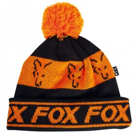 Bonnet Fox Black & Orange Lined Bobble