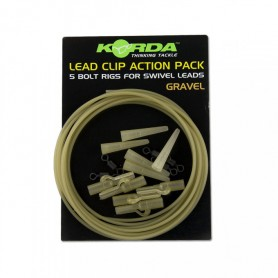 Montage Korda Lead Clip Action Pack Gravel (par 5)